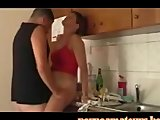 Hot couple having sex in the kitchen!