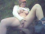 Playing with pussy outdoors