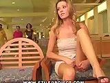 hot girl masturbates in public lobby