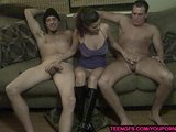 amateur girl gives a double handjob