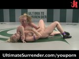 Two naked hot gilrs wrestling each other