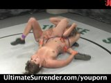 Two naked chicks wrestling, loser gets fucked!