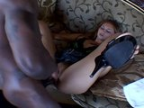 Naughty girl rides big black cock