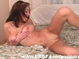 Gorgeous Busty EX Sticks 3 Fingers in her Twat