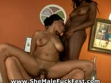 Hot ebony shemale in action!