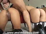 Blonde and Asian Girl Buttfucked