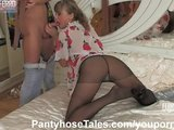 Sex in black pantyhose