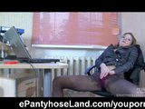Pantyhose masturbation in the office