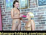 Busty blonde gets straponed by her lesbian trainer