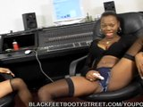 Ebony Lesbians Lick Feet And Toy