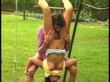 Horny Brunette fucked on a Swing!