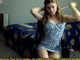 Petite Girl In Wheel-Chair Strips On Webcam