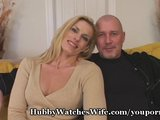 MILF in blonde takes bald man for a fuck drive by her cunt