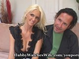 One man watches while another humps his blonde wife at home