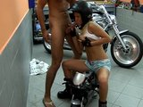 Horny girlfriend brunette rides cock in the bike shop with the manager