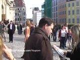 Slim flasher has fun in public