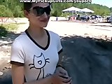 Brunette in glasses fucked in the park