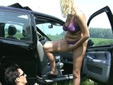 Amateur couple stops at the country side for a great fuck in front of camera