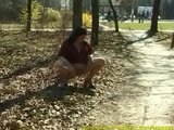 chubby young babe pissing outdoor