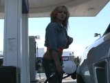 Flashing  tits while pumping gas