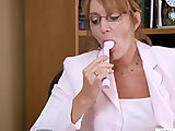 Horny Lesbian Samantha Stone Office Masturbation