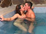 Busty mature milf seduces young guy in the pool and fucks him