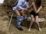 Brunette helps farmer at the ranch and gets fucked outdoors