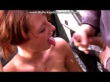 Amateur car sex with beautiful redhead