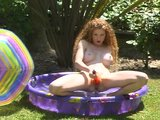 Natural redhead cums in the baby pool