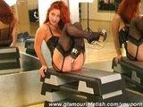 Glamour strip in sport studio