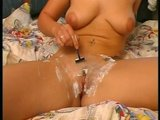 Shaving her pussy before she does herself