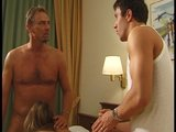 Two guys cum on each tit