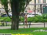 Hot public nudity with blonde cutie celine