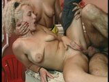 Hot sex between two blondes and their friend