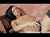 Wild party chick in black stockings masturbating