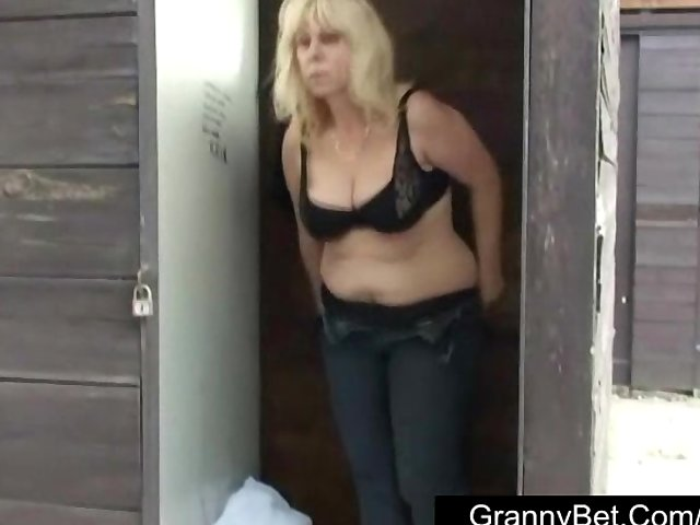 Sex Tubes of Old Blonde Is Banged By Young Guy Outdoors