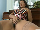 Hairy Busty Cougar Loudly Masturbates