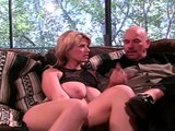 Naked blonde on couch gets played with by her husbands cock