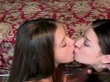 Young college girls kiss and suck each other