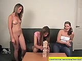 3 amateur girls playing strip games