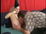 Shapely girl in black enjoys the moment