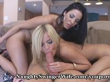 Lucky Hubby Bangs Coed With Busty Wifey