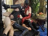 Leather fucking circle bed orgy