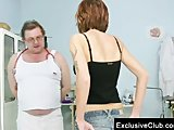 Jane pussy gaping on gyno chair at clinic