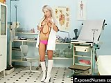 Naughty nurse Sabina pussy gaping at clinic