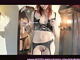 french girlfriend trying lingerie