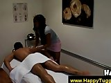 Asian gives clients dick a slow massage