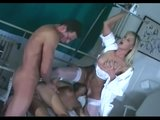 Threesome with a blonde nurse in sheer lingerie