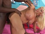 Blonde tranny stuffed with black cock