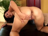 Busty Jade spreads her legs for a dildo